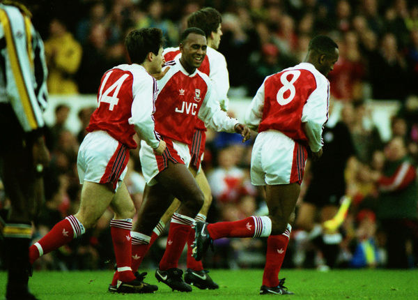 Football - 1991 / 1992 First Division - Arsenal 2 Notts County 0     Anders Limpar (#14) and Davids Rocastle celebrate with Arsenal goalscorer Ian Wright, at Highbury.     26/10/1991