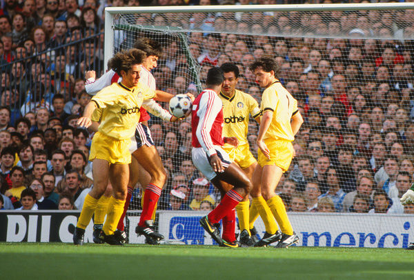 Football - 1989 / 1990 First Division - Arsenal 4 Manchester City 0     City's Ian Bishop, Brian Gayle and Gary Fleming, and Arsenal's Alan Smith and David Rocastle, at Highbury