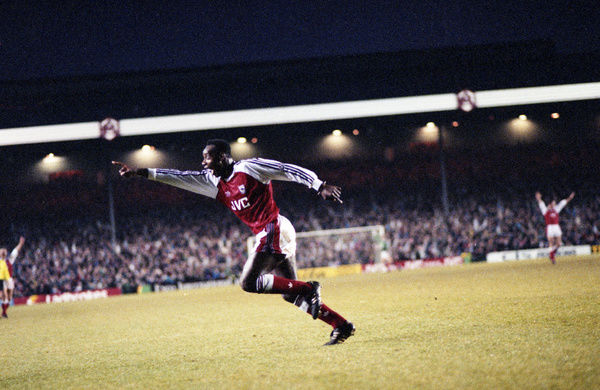 Football - 1990 / 1991 First Division - Arsenal 4 Sheffield United 1     Michael Thomas celebrates scoring the third goal for Arsenal, at Highbury     29/12/1990