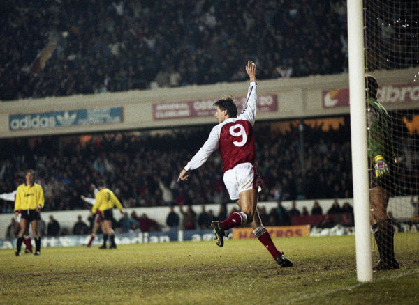 Football - 1990 / 1991 First Division - Arsenal 4 Sheffield United 1     Alan Smith celebrates scoring one of his two goals, at Highbury     29/12/1990