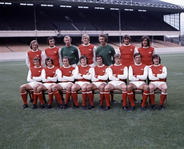 Football - English Division One Arsenal team group 1971/72 season.  Back row : L to R: Bob McNab, Ray Kennedy, Bob Wilson, John Roberts, Geoff Barnett, Peter Simpson, Peter Marinello.  Front row : Sammy Nelson, Peter Storey, John Radford, Pat Rice