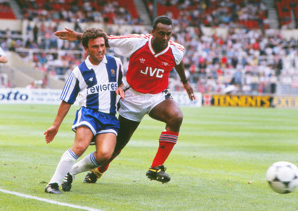 Football - 1989 / 1990 Makita International Tournament [Pre-Season Friendly Competition] - Arsenal vs. Porto     Arsenal's David Rocastle and Porto's Marito, at Wembley.     29/07/1989