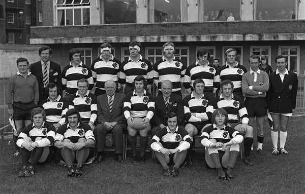 Rugby Union - 1972 / 1973 New Zealand Tour of Great Britain & France - Barbarians 23 New Zealand 11 The Barbarians Team Group before the game at Cardiff Arms Park. Standing (left to right): touch judge, Geoffrey Windsor Lewis (Barbarians secretary)
