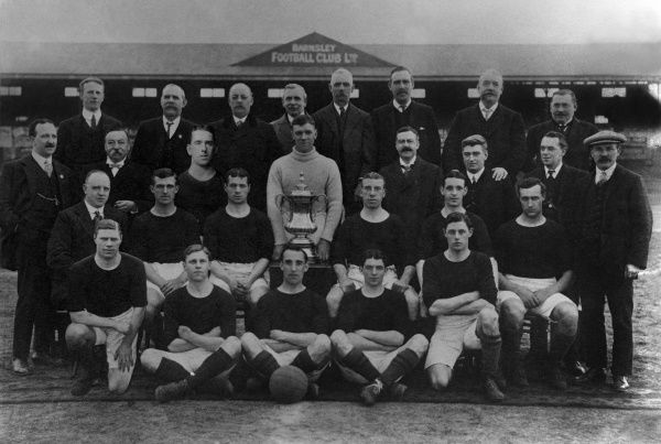 Football - 1911 / 1912 season - Barnsley Football Club Team Group 1912 FA Cup Winners.  They beat WBA 1-0 after extra time in a replay (Bramall Lane) after a 0-0 draw (Crystal Palace).   Back row (left to right): A. Wood, J. Bott, Ald. J. S