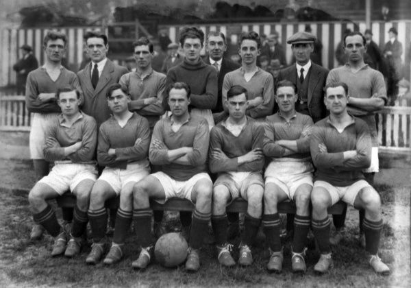 Football - 1925 / 1926 season - Barrow AFC Team Group   Back Row (left to right): Joe Wakefield, John Broadfoot, John Conlin, Harold Clark, William Dickinson, Wilfred Bennett, Jack Banks, Albert Edward 'Ernest' Tubb.  Front: Thomas Hatch, Henry Roberts