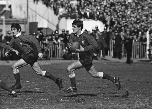 Rugby Union Barry John (Wales) runs with Gerald Davies (left) in support. Wales 24 Ireland 9 1969 Five Nations Championship, Cardiff, 08/03/1969