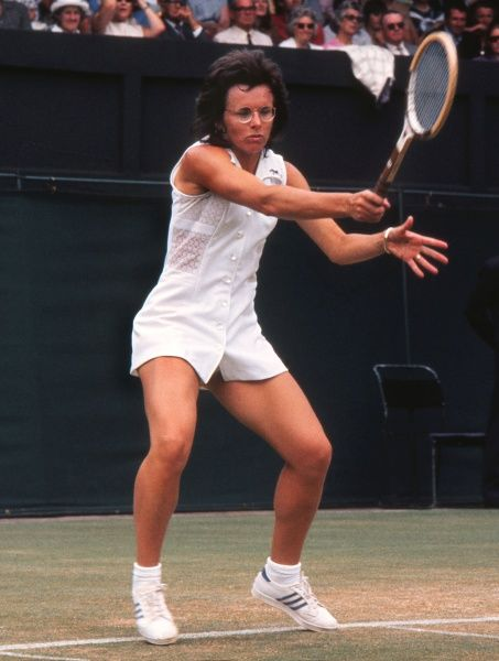 Tennis - 1973 Wimbledon Championships The USA's Billie Jean King, wearing a Teddy Tinling dress. She went on to win her fifth Ladies' Singles title
