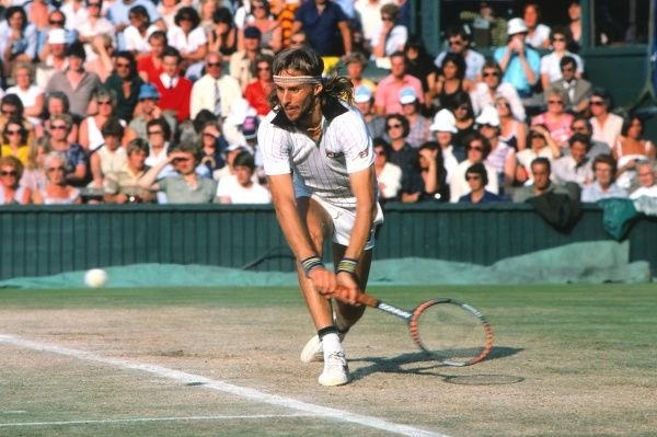 Tennis - 1980 Wimbledon Championships - Men's Singles Final Bjorn Borg hits from the baseline on Centre Court. Borg defeated John McEnroe 1-6, 7-5, 6-3, 6-7, 8-6 to win his fifth consecutive Wimbledon title