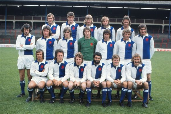 Football - 1973 / 1974 season - Blackburn Rovers Team Group Back (left to right): Barry Endean, Donnon Martin, John Kenyon, Neil Wilkinson, Stuart Metcalf.  Middle: Chris Napier, Derek Fazackerley, Mick Wood, Roger Jones, David Turner, Terry Garbett