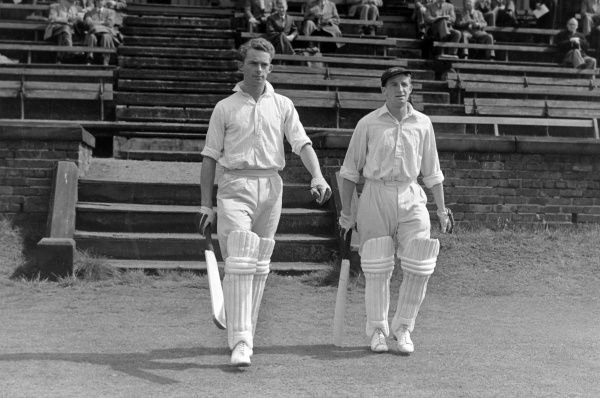 Cricket - 1957 season Bob Barber, left, and Jack Dyson walk out to bat for Lancashire. Barber was a leg-spinning all-rounder who made 155 first-class appearances for the county between 1954 and 1962, and as an amateur was captain in 1960 and 1961