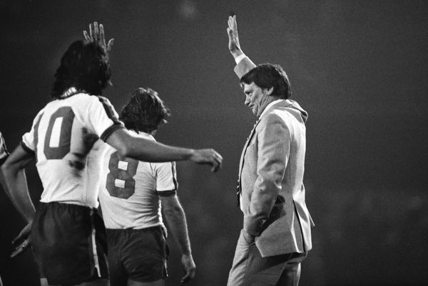 Manager, Bobby Robson waves to the crowd after the match Ipswich Town v England X1