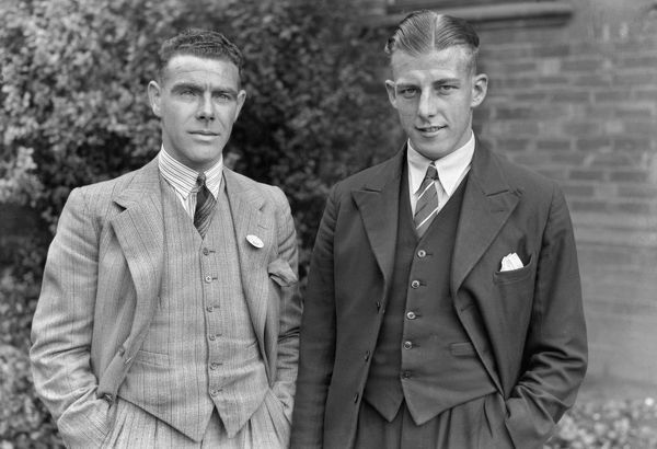 Football - 1936 / 1937 season Southampton's Robert 'Bobby' Whitelaw, left, and William 'Billy' Moore