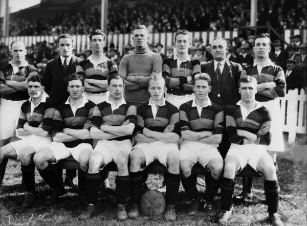 Bradford Park Avenue team group : 1926 / 27 season back row : L to R. Duffield,Aitken,Carrick,Clough,Myerscough,Campey (trainer), Hubbert. Front : Quantrill,Peel,Ken McDonald,Fell (Captain),Taylor,Martin Johnson. Credit : Colorsport