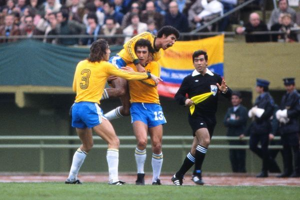 Brazil's Nelinho is congratulated by teammates after scoring against Italy at the 1978 World Cup