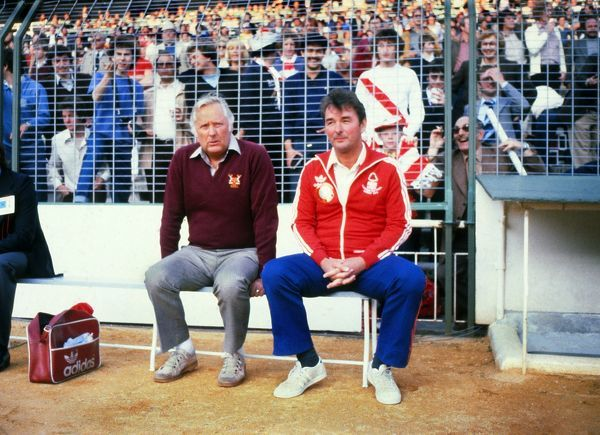 Football -  Nottingham Forest manager Brian Clough with his coach Peter Taylor (left).  Nottingham Forest 1 Hamburg 0  1980 European Cup Final, Santiago Bernab?