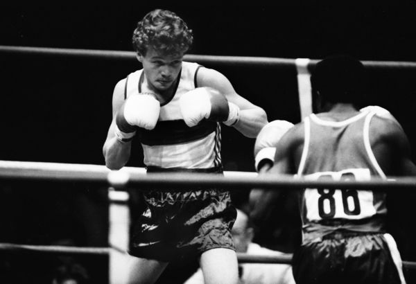 Boxing - 1982 Brisbane Commonwealth Games - Men's Bantamweight [54kg] Final: Roy Webb (Northern Ireland) vs. Joe Orewa (Nigeria) Roy Webb, who won the silver medal