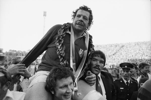 British Lions captain Bill Beaumont is chaired off the pitch after victory against South Africa in the 4th Test in 1980