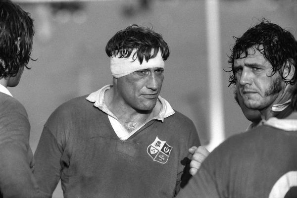 Rugby Union - 1974 British Lions tour to South Africa - SA Africans (Leopards) 10 British Lions 56 (9/7/74) British Lions captain Willie John McBride rallies his players, with Mike Burton right, during the game in East London