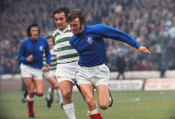 Football - 1972 / 1973 Scottish League Division One - Celtic 3 Rangers 1    Sandy Jardine of Rangers and Lou Macari of Celtic, at Celtic Park.    16/09/1972