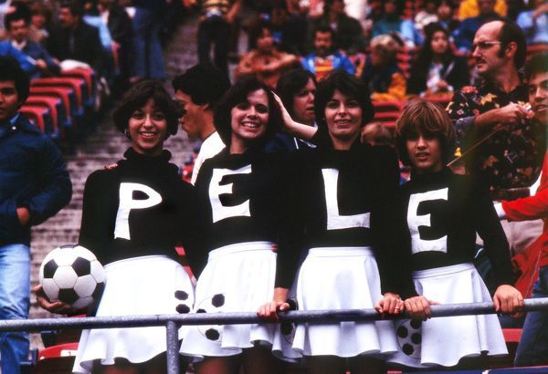 Football Female Pele fans at the Brazil great's final game.  01/10/1977   Cosmos v Santos, Giants Stadium, New York