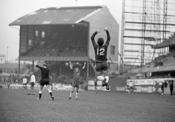 Football - 1973 / 1974 First Division - Chelsea 3 Burnley 0    Ian Hutchinson (#12) celebrates scoring for Chelsea, at Stamford Bridge.    13/03/1974