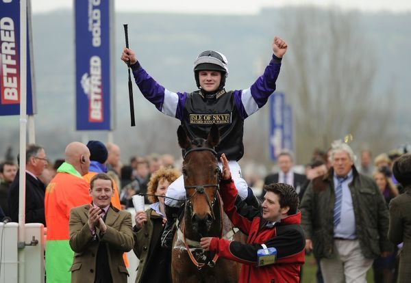 Horse Racing - Cheltenham Festival - Day 4 - The Gold Cup Campbell Gillies celebrates winning the Albert Bartlett Novice's Hurdle Race on Brindisi Breeze at Cheltenham Racecourse