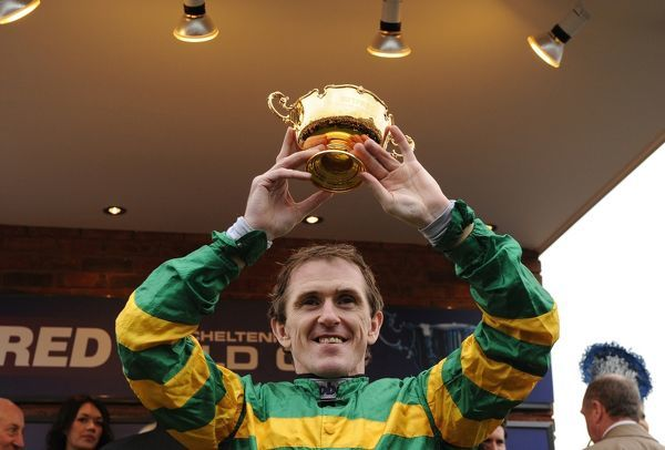Horse Racing - Cheltenham Festival - Day 4 - The Gold Cup A P McCoy celebrates winning the Gold Cup on Synchronised at Cheltenham Racecourse