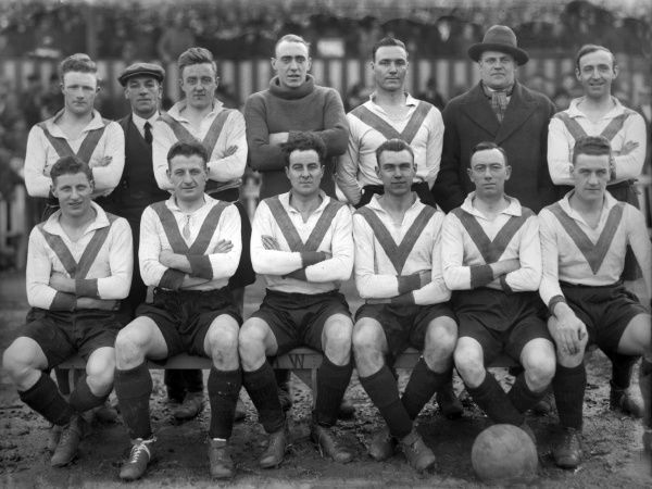 Clapton Orient team group 1929 /30 season Back row : L to R. Lawrence,Trainer,Broadbent,H.M.Garland - Wells,Lyons,Wood,Little. Front : Vanner,Edmonds,Saunders,Reginald Tricker,Hoar,Galbraith. Credit : Colorsport