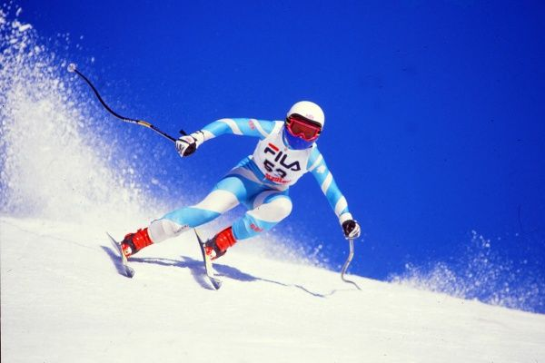 Womens Skiing : Jan 1987 Womens Downhill training Clare Booth - GBR Represented GB at the Winter Olympics @ Sarajevo 1984