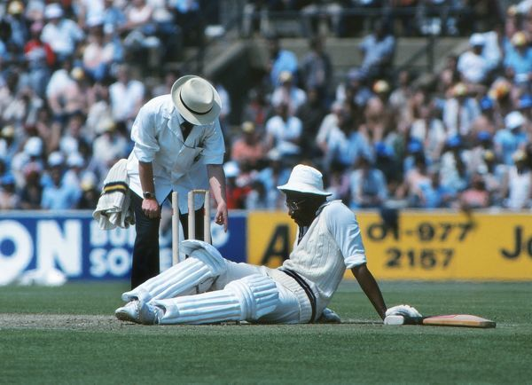 Cricket - 1979 Prudential World Cup - Final: West Indies beat England 92 runs Clive Lloyd of the West Indies recovers after almost being run out at Lords. 23/06/1979