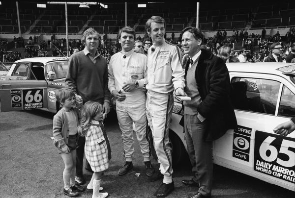 Motorsport - 1970 London to Mexico Daily Mirror World Cup Rally Drivers Roger Clark and Alec Poole with West Ham United footballer Bobby Moore and his two children, Dean and Roberta, with David Gregory far right (Shoot football magazine Editor)