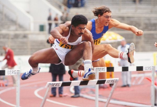 Athletics - 1978 Prague European Championships - Men's Decathlon Day Two Daley Thompson of Great Britain during the 110 metres hurdles event in the Stadion Evzena Rosickeho, Czechoslovakia. Thompson went on to win the silver medal