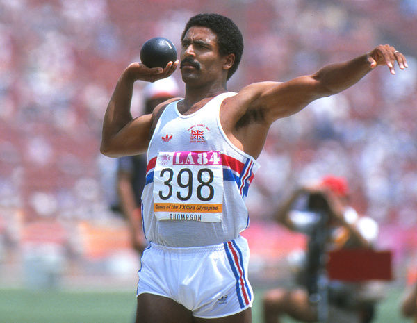 Athletics - 1984 Los Angeles Olympics - Men's Decathlon Day 1 Great Britain's Daley Thompson in the shot put event in the Los Angeles Memorial Coliseum, California, USA