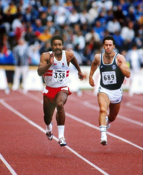 Athletics - 1986 Edinburgh Commonwealth Games - Men's Decathlon Day One England's Daley Thompson during the 100m event in the Meadowbank Stadium, Edinburgh, Scotland. Thompson went on to win gold