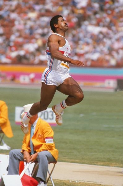 Athletics - 1984 Los Angeles Olympics - Men's Decathlon Day 1 Great Britain's Daley Thompson in the long jump event in the Los Angeles Memorial Coliseum, California, USA