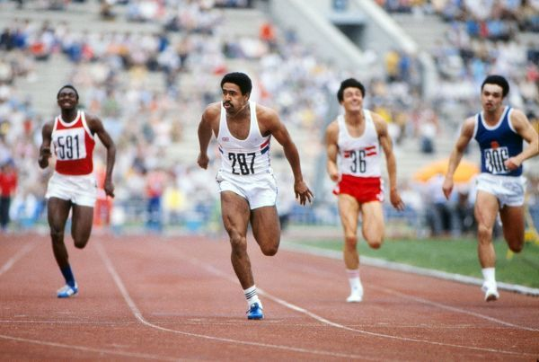 Athletics - 1980 Moscow Olympics - Men's Decathlon Day 1 Great Britain's Daley Thompson wins the 100m event in 10.62s in the Grand Arena of the Central Lenin Stadium, Moscow, USSR