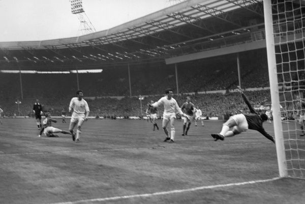 Football - 1963 FA Cup Final - Manchester United 3 Leicester City 1 (25/5/1963) Manchester United's Denis Law turns to score his team's first goal past Leicester keeper Gordon Banks at Wembley