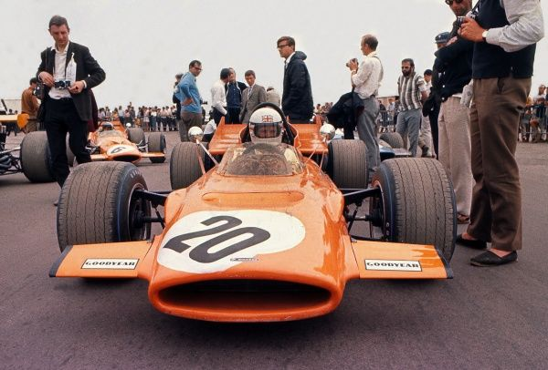 Motorsport - 1969 Formula One (F1) World Championship - British Grand Prix Derek Bell in the McLaren M9A four-wheel drive (the only time the car was used) at Silverstone