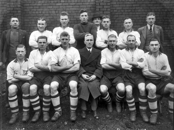 Football - 1935 / 1936 season - Doncaster Rovers team group Back (left to right): R. McLean (trainer), Gladwin, Shaw, Imrie, Mr Tinghe (Director), Rogers, Emery, E. Bott. Front: Burton, Smith, Baines, Mr Fletcher (Chairman), Hibbert, Turner