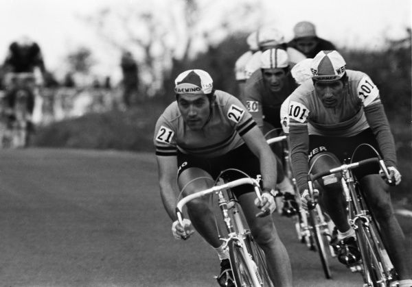 Cycling - 1970 UCI Road World Race Championships - Men's Professional Race Belgium's Eddy Merckx (#21) and Spain's Ramon Saez Marzo (#101) at Mallory Park, Leicester. 16/08/1970