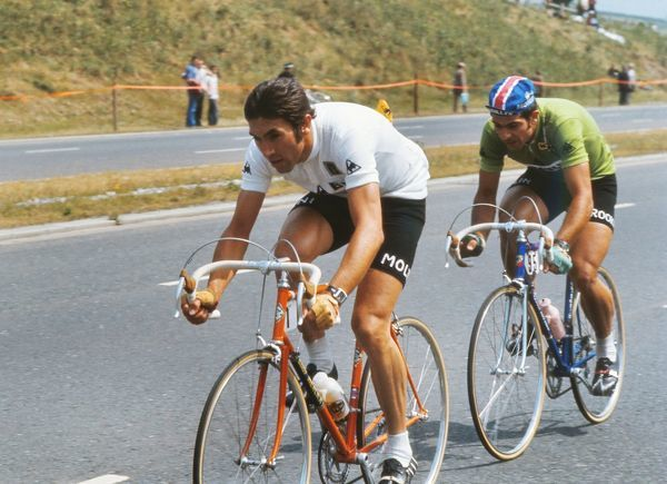 Road Cycling - 1974 Tour de France - Stage Two: Plymouth-Plymouth Belgium's Eddy Merckx, in the white combination jersey, on the Plympton bypass. He would go on to win the general classification. It was the first time the Tour had been staged on British soil