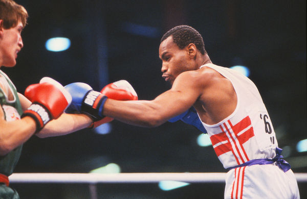 Boxing - 1986 Edinburgh Commonwealth Games - Men's Welterweight [67kg] Semi-Final: Darren Dyer (England) vs. Damien Denny (Northern Ireland) Darren Dyer on the way to winning the bout. Dyer won the gold medal and Denny the bronze