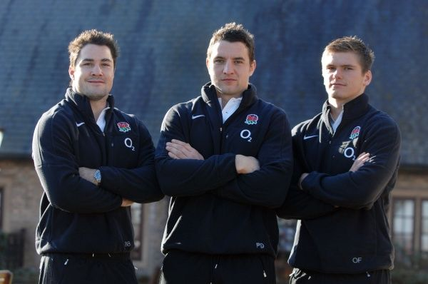Rugby Union : England training : Pennyhill Park. New England Caps : L to R. Brad Barritt, Phil Dowson, Owen Farrell