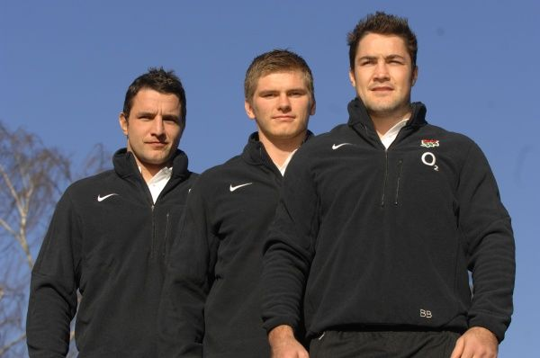 Rugby Union : England training : Pennyhill Park. New England Caps : L to R. Phil Dowson, Owen Farrell, Brad Barritt