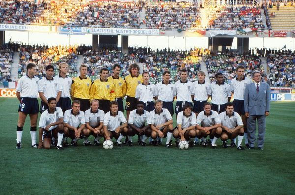 Football - 1990 World Cup - Third Place play-off: Italy 2 England 1 (7/7/1990) The England Squad Team Group before the game in the Stadio San Nicola, Bari, Italy. Back (left to right): Chris Waddle, Neil Webb, Mark Wright, Chris Woods, Peter Shilton