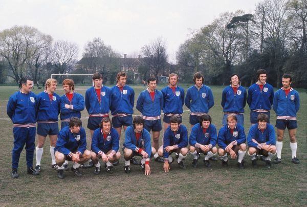 The England squad to face Greece at Wembley in 1971