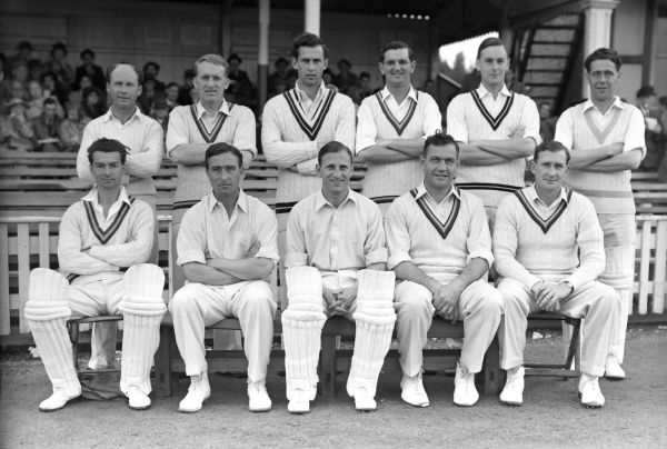 Cricket - 1953 season - England XI vs. 'The Rest' England XI Team Group for the Test trial   Back (left to right): Paul Gibb (Essex), Johnny Wardle (Yorkshire), Alan Moss (Middlesex), Tom Graveney (Gloucestershire), Peter May (Surrey), Trevor Bailey