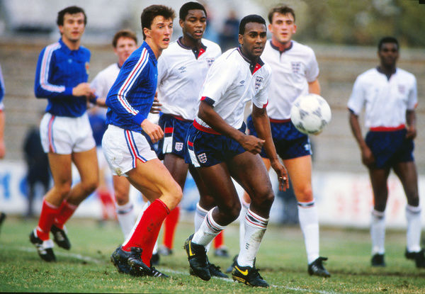 Football - 1987 / 1988 UEFA European Under-21 Championship Qualifier - Group Four: Yugoslavia 1 England 5     David Rocastle of England, at Gradski Stadium, Zemun.     10/11/1987