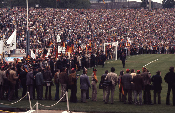 Football - 1972 UEFA European Football (Euro) Championship - Final: West Germany 3 Soviet Union 0     West Germany fans line the pitch in the last five minutes, at the Heysel Stadium, Brussels.     18/06/1972