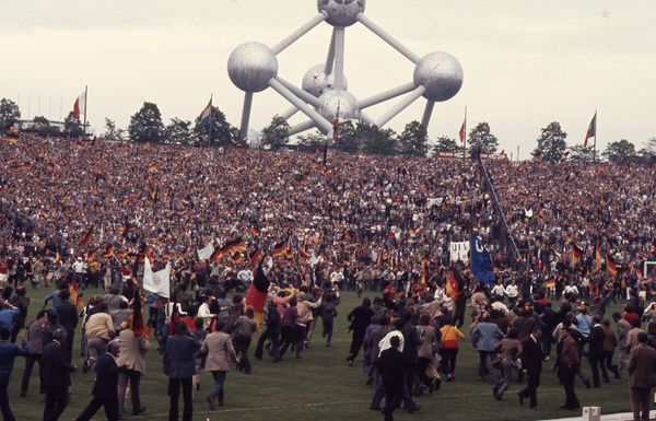 Football - 1972 UEFA European Football (Euro) Championship - Final: West Germany 3 Soviet Union 0     West Germany fans invade the pitch at the end of the game in celebration of their team's victory, at the Heysel Stadium, Brussels